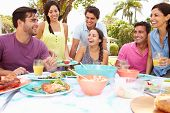 Group Of Friends Celebrating Enjoying Meal In Garden At Home