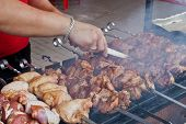 Street Shashlik Cooking