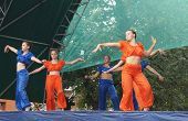 Mstyora,Russia-August 16,2014: Young girls dance on scene at day of the city