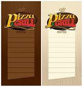 Pizza and grill menus set.