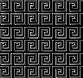 Repeating Maze Like Design Scratchy Silver