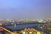 Panoramic View Of Osaka City At Night, Japan