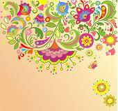 Decorative floral card. Raster copy