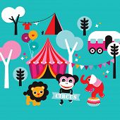 Cute colorful kids circus animals and fun fair camping background postcard cover design in vector