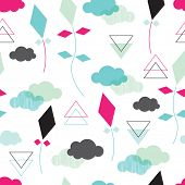 Seamless kite and clouds in the sky geometric abstract background pattern in vector