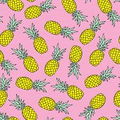 Seamless tossed summer pineapple fruit illustration background pattern in vector