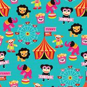 Seamless colorful kids circus animals fun fair illustration background pattern in vector