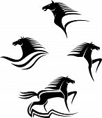 stock photo of wild horses  - Set of black horses symbols for design isolated on white - JPG