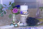Decoration For Wedding Table In Purple Color . Flowers And Candles. The Vintage. The Bundle Of Laven