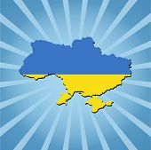 Ukraine map flag on blue sunburst illustration