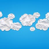 Clouds From Crushed Paper, With Gradient Mesh, Vector Illustration