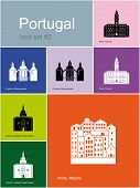 Landmarks of Portugal. Set of color icons in Metro style. Raster illustration.