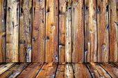 Detailed closeup of old wooden fence