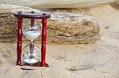 picture of driftwood  - Sand timer in beach sand with driftwood.