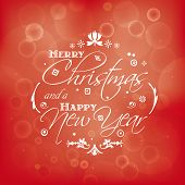 Merry Christmas and Happy New Year card design with bokeh effect. Vector illustration with vintage t