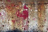 Peeling paint on steel background