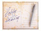 Old Paper Postcard - Happy Birthday