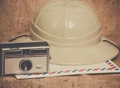 Travel icons camera airmail envelope canvas safari hat