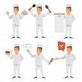 Flat design of a happy chef in various positions and gestures