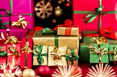 Many Christmas Presents Grouped By Color