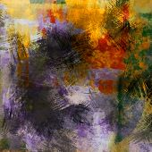 art abstract colorful acrylic and pencil background in violet, orange, red, black and green colors