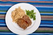 pic of meatloaf  - A Meatloaf with brown rice and arugula - JPG