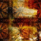 art abstract colorful watercolor background with damask vintage tiled pattern in gold, orange, red a