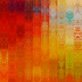 art abstract colorful graphic background; geometric border stylized pattern in gold, orange, brown a