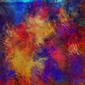 art abstract colorful acrylic and pencil background in orange, blue, red and violet colors
