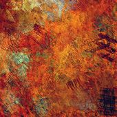 art abstract colorful acrylic and pencil background in red, green, brown and orange colors
