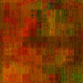 art abstract colorful geometric pattern; tiled background in gold, red, orange, green and brown colo