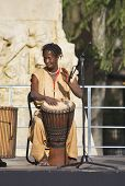 MADRID, SPAIN - MAY 14, 2008: Performance of the African actors and musicians on a holiday in Day Ma