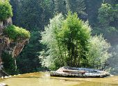 Man Made Island At The Top Of Jajce Waterfall