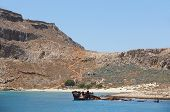 Shipwreck And Castle At Imery Gramvousa Bay. Crete. Greece