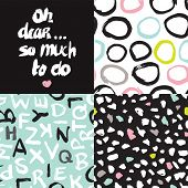 Oh dear so much to do typography hand lettering and abstract background pattern set in vector