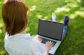Pretty redhead using her laptop in the park on a sunny day