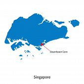 Detailed vector map of Singapore and capital city Downtown Core