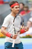 Spanish Tennis Player Rafael Nadal Victory During The Mutua Madrid Open 2013