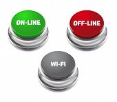 Red Offline, Green Online And Gray Wifi Button