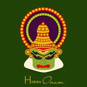 image of onam festival  - Indian cultural Kathakali dancer face on green background for South Indian festival Happy Onam celebrations - JPG