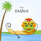 South Indian festival Happy Onam festival celebrations with cultural Kathakali dancer face, wooden s