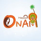 Happy Onam celebration concept with beautiful lady and Indian traditional Kathakali dancer face and