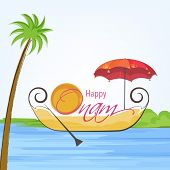 picture of tree snake  - Illustration of south indian snake boat taking an umberella and sun style decoreted text of happy onam and tree on light blue and white background - JPG