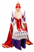Sinterklaas full length portrait. isolated on white background. Dutch character of Santa Claus
