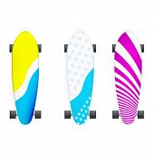 Vector illustration of colored longboards