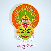 Illustration of kathakali face with heavy makeup and many colours decorated crown with reflection on