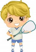 Illustration of a Boy Dressed in Squash Gear