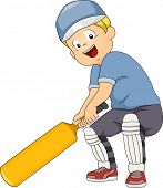Illustration of a Boy Holding a Cricket Bat