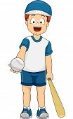 Illustration of a Boy Dressed in Baseball Gear