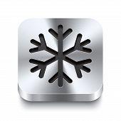 Square Metal Button Perspektive - Snowflake Icon